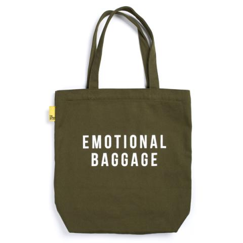 'Emotional Baggage' khaki reusable canvas tote bag