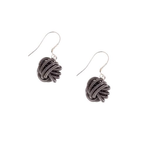 Etnika Bologna Dark Grey Knot Earrings