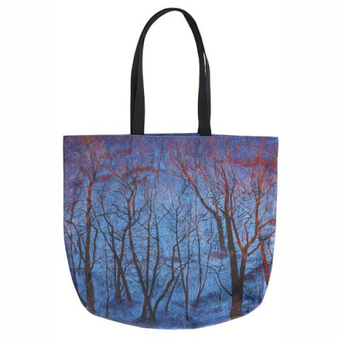 Blue Snow and Fiery Trees by Victoria Crowe large canvas tote bag