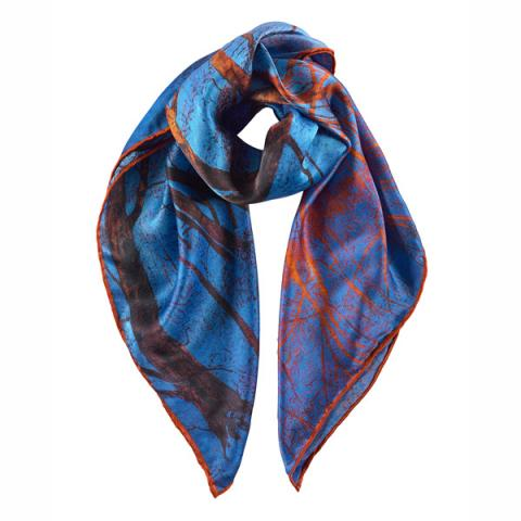 Blue Snow and Fiery Trees Victoria Crowe Silk Scarf