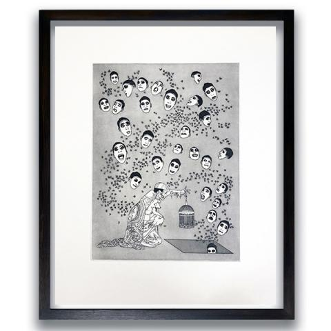 Fireflies and Faces by Raqib Shaw limited edition etching print