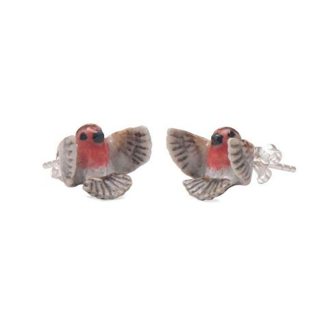 Flying Robin porcelain stud earrings