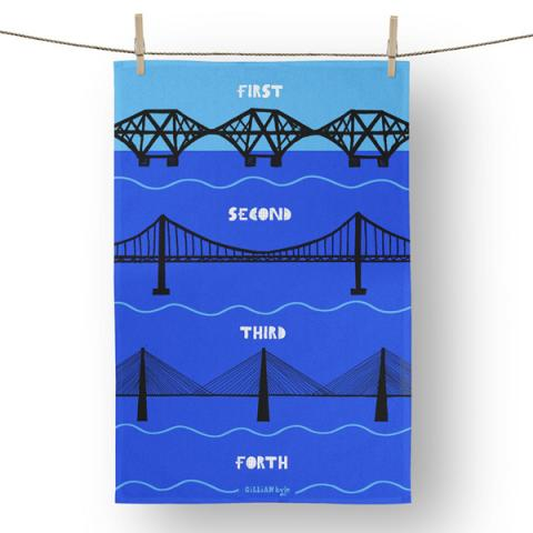 Forth bridges cotton tea towel