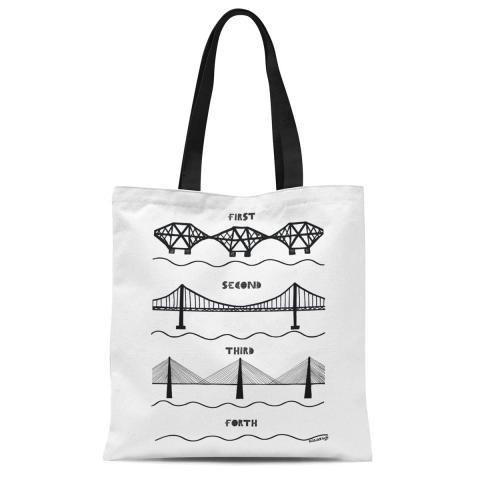 Forth bridges reusable cotton tote bag