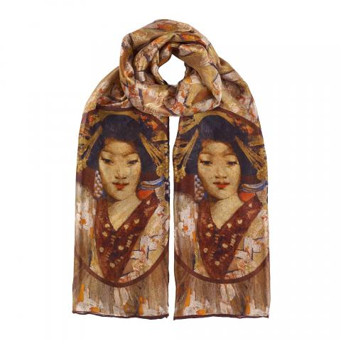 Geisha Girl by George Henry silk scarf