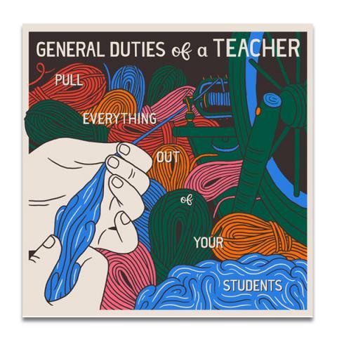 General duties of a teacher greeting card