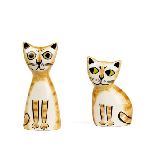 Ginger cat ceramic salt and pepper shaker set