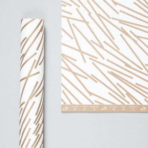 Gold lines geometric gift wrap (single sheet)