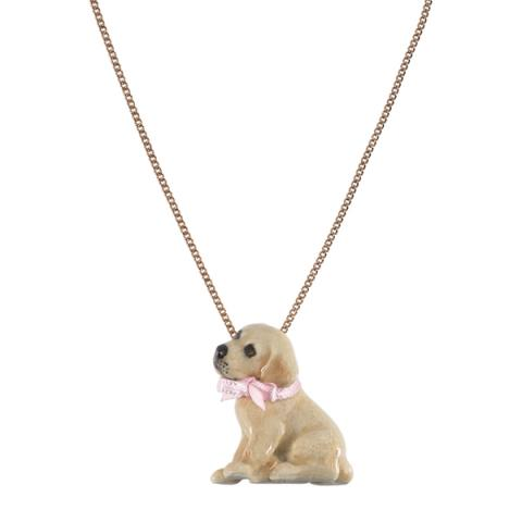 Golden Labrador puppy porcelain necklace