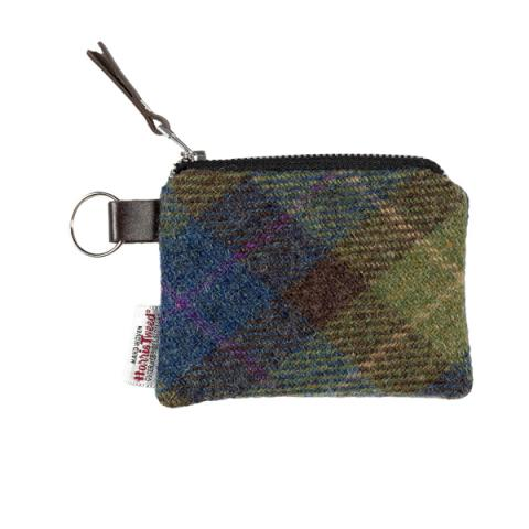 Green and brown checked Harris Tweed coin purse