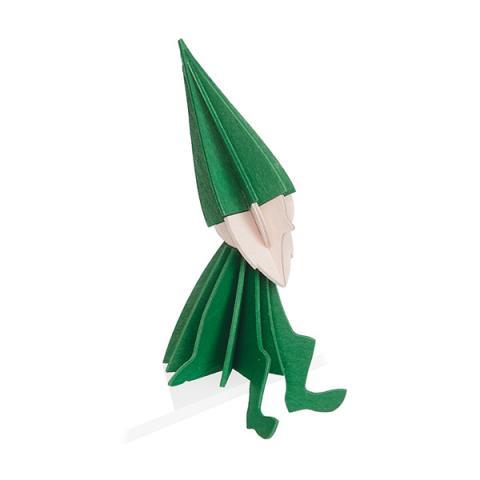 Green elf wooden flat pack Christmas decoration kit (8cm)