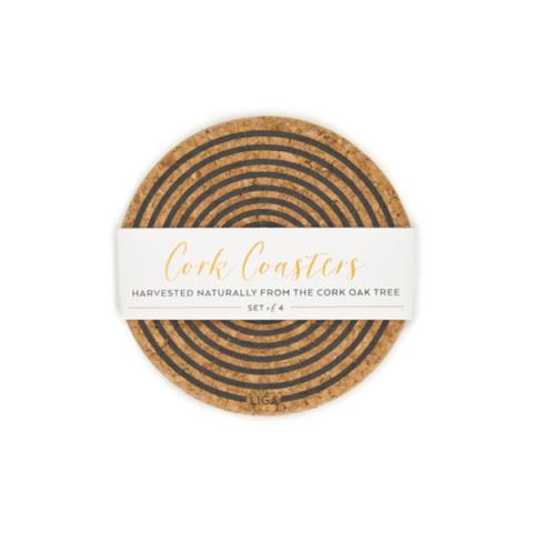 Grey orbit cork coaster set