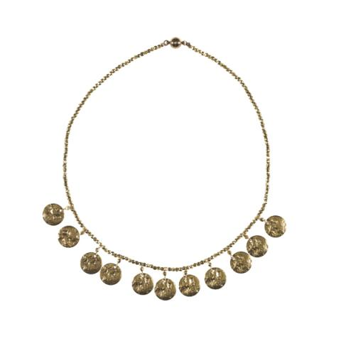 Hammered disc and brass bead collar necklace