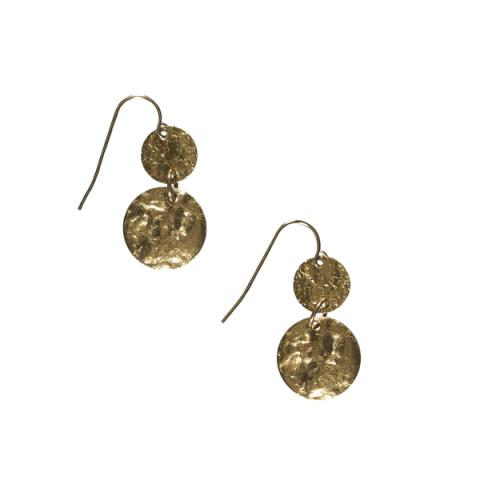 Hammered disc and brass bead double drop earrings