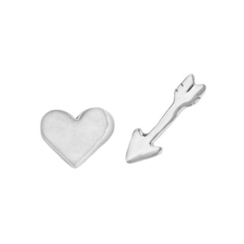 Heart and arrow silver stud earrings