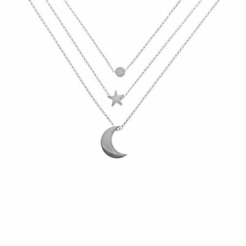 Circle moon star layered silver necklace