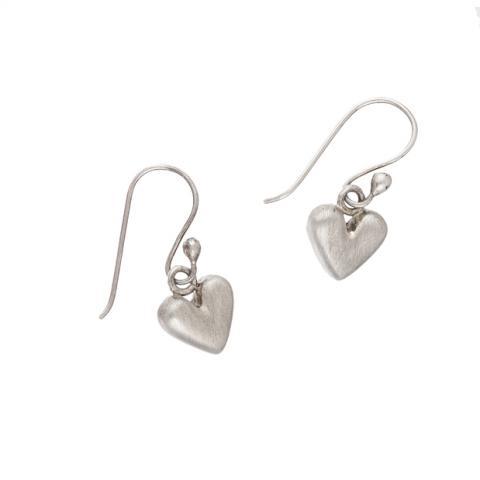 Heart shaped matt silver drop earrings