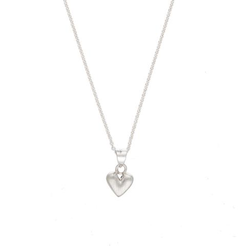 Heart shaped matt silver pendant