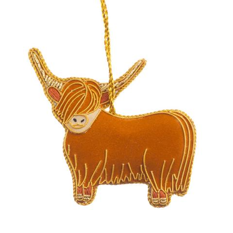Highland cow fabric beaded decoration