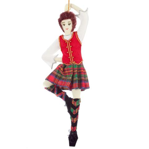 Highland dancer fabric beaded Christmas decoration