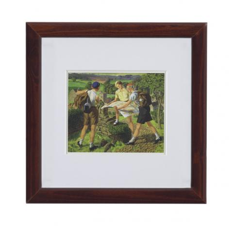 Hiking by James Cowie ready to hang small framed print