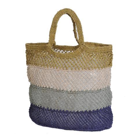 Jute macrame horizontal stripes large shopper bag