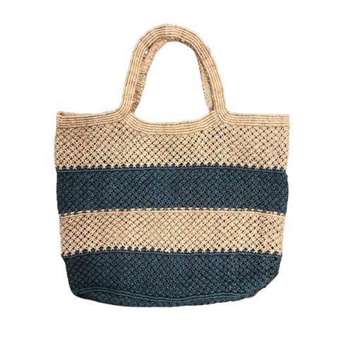 Jute macrame large shopper with blue horizontal stripes