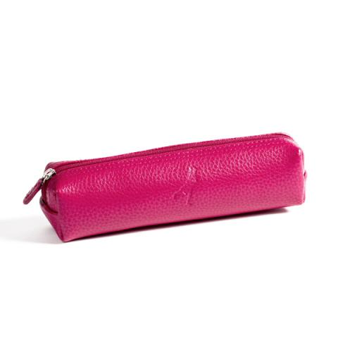 Embossed fuchsia pink leather pencil case