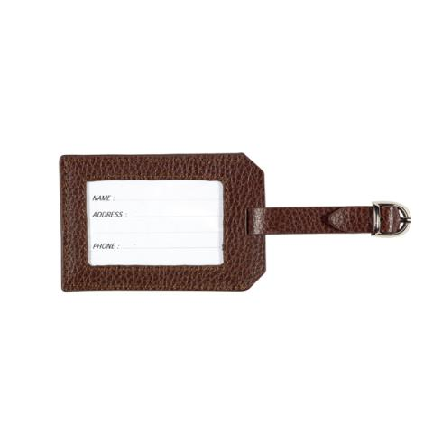Leather Luggage Tag Brown