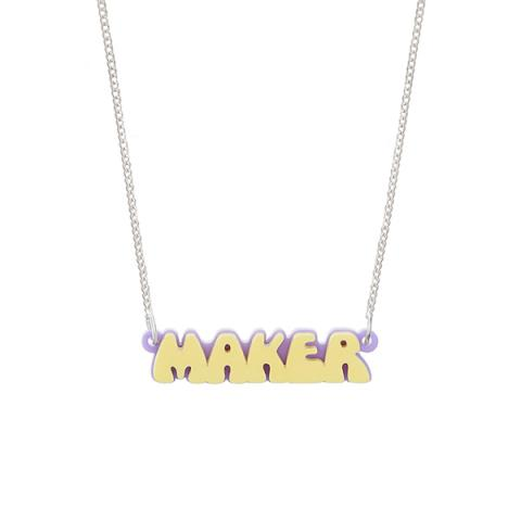 Maker retro bubble font acrylic necklace