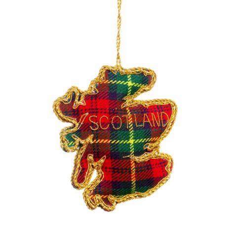 Map of Scotland tartan fabric decoration