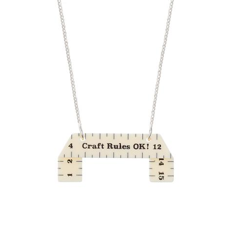 Measuring tape acrylic necklace