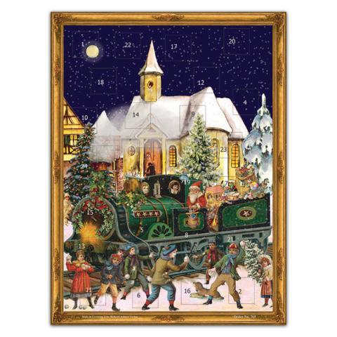 Mini advent calendar greeting card with Santa train