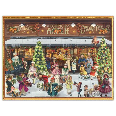 Mini advent calendar greeting card with a Victorian shop scene