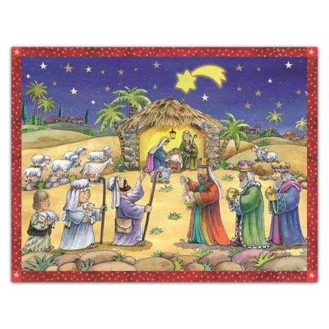 Mini advent calendar greeting card with a fun nativity scene