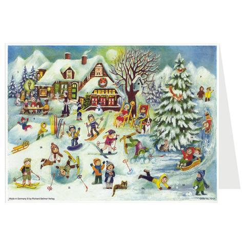 Mini advent calendar greeting card with a snow sports scene