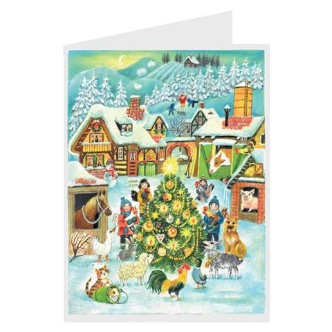 Mini advent calendar greeting card with farmyard Christmas tree