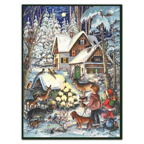 Mini advent calendar greeting card with winter woodland scene