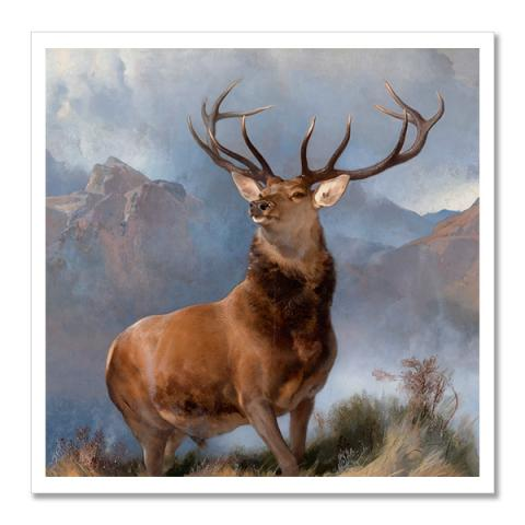 The Monarch of the Glen by Sir Edwin Landseer square postcard