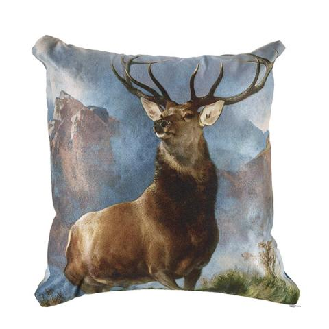 Monarch of the glen suedette fabric cushion