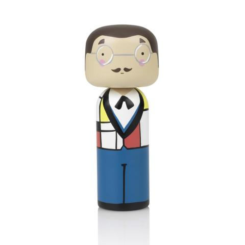 Piet Mondrian by Lucie Kaas wooden kokeshi doll