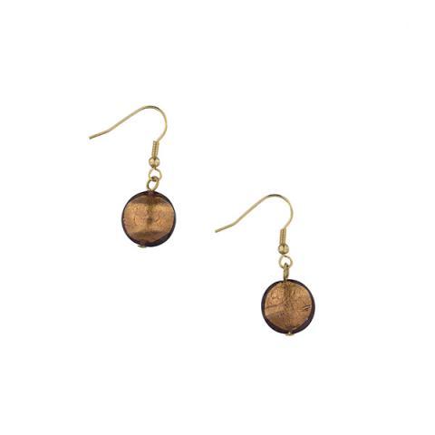 Murano glass mauve smartie drop earrings