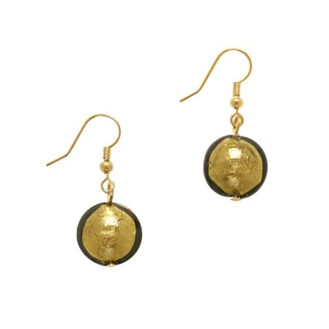 Murano Glass Olive Green Bead Drop Earrings