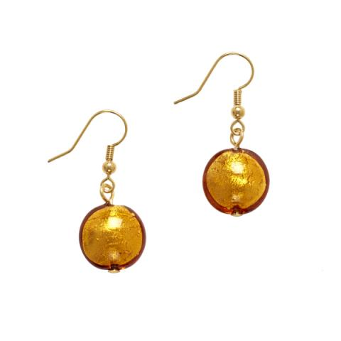 Murano Glass Gold Bead Drop Earrings