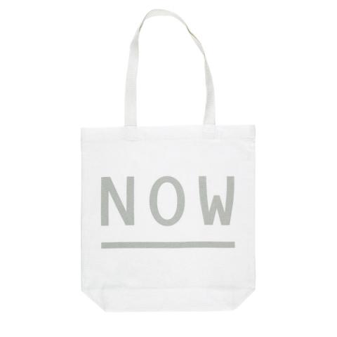 Graphic text 'NOW' white reusable canvas tote bag