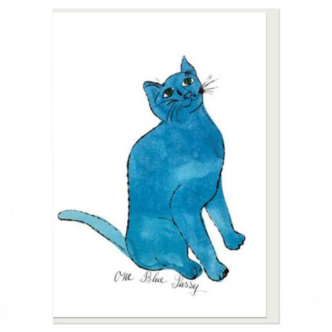 One Blue Pussy by Andy Warhol greeting card
