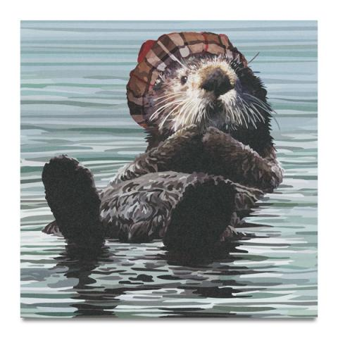Otter in water greeting card
