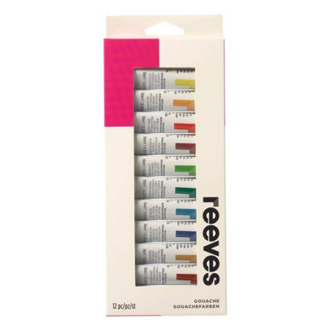 Pack of twelve gouache paint tubes (10ml)