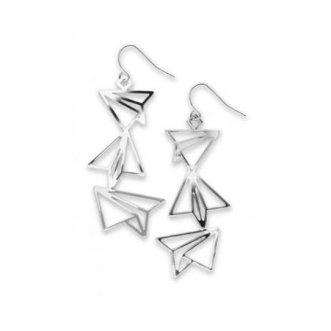 Paper airplanes long drop earrings