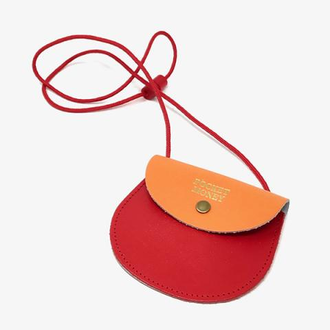 Pocket money red and orange leather purse